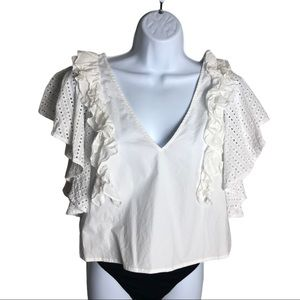 Club Monaco White Ruffle and Eyelet Blouse Size M